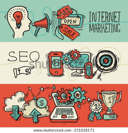 SEO internet marketing banner design concept colored sketch icons set isolated vector illustration - stock vector