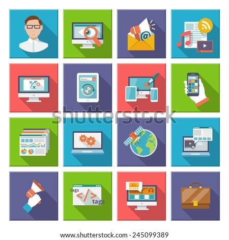Seo internet marketing computer design elements flat icon set isolated vector illustration - stock vector