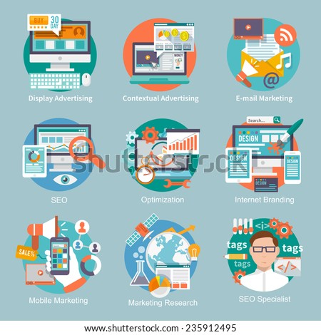 Seo internet marketing flat icon set with display contextual advertising e-mail marketing concepts isolated vector illustration - stock vector