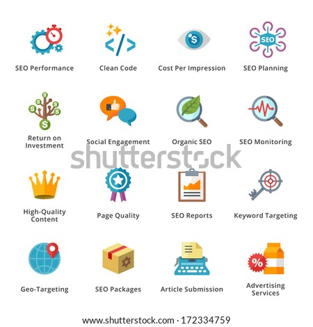 SEO & Internet Marketing Flat Icons - Set 4 - stock vector