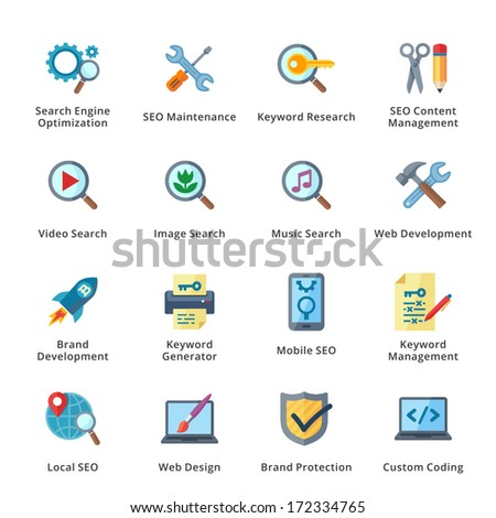 SEO & Internet Marketing Flat Icons - Set 1 - stock vector