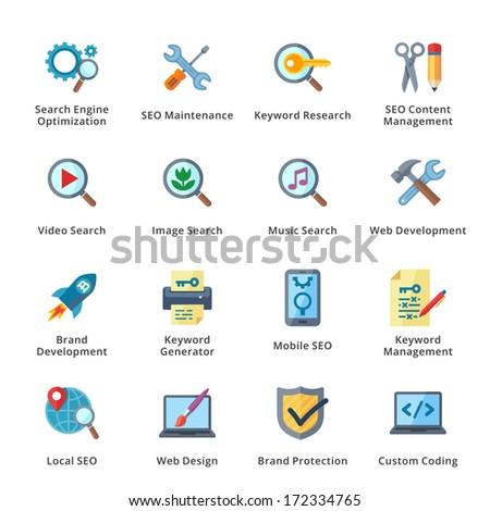 SEO & Internet Marketing Flat Icons - Set 1 - stock vector