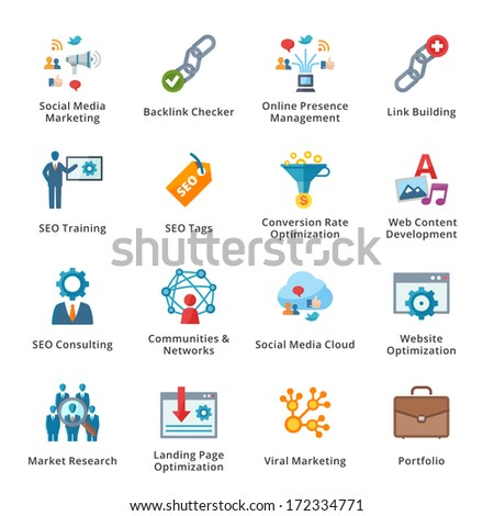 SEO & Internet Marketing Flat Icons - Set 2 - stock vector