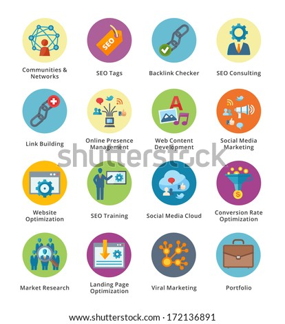 SEO & Internet Marketing Flat Icons Set 2 - Bubble Series  - stock vector