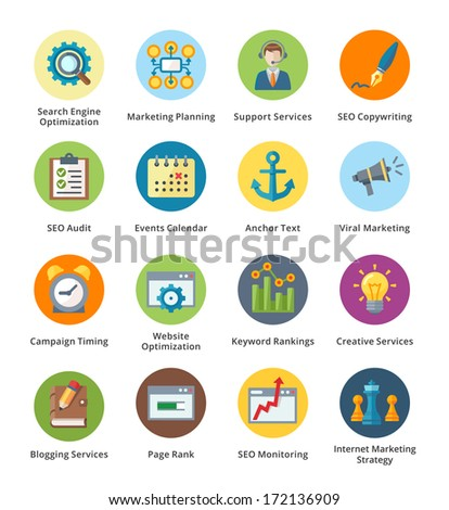 SEO & Internet Marketing Flat Icons Set 5 - Bubble Series  - stock vector