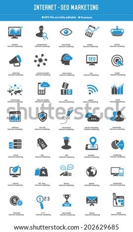 SEO - Internet marketing icon set blue icons,vector - stock vector