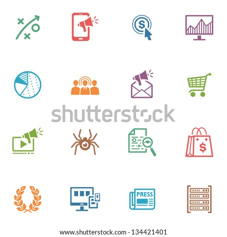 SEO & Internet Marketing Icons - Set 3 | Colored Series - stock vector