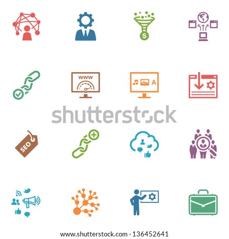 SEO & Internet Marketing Icons - Set 2 | Colored Series  - stock vector