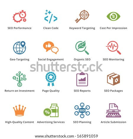 SEO & Internet Marketing Icons - Set 4 | Colored Series - stock vector