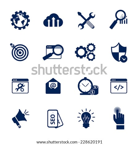 SEO internet marketing media marketing web site optimization black and white icons set isolated vector illustration - stock vector