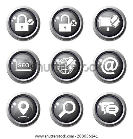 SEO Internet Sign Black Vector Button Icon Design Set 3 - stock vector