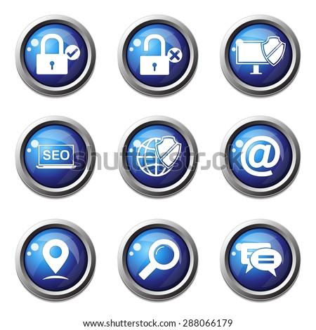 SEO Internet Sign Blue Vector Button Icon Design Set 3 - stock vector