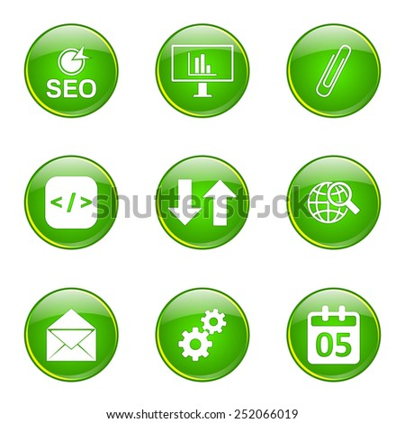 SEO Internet Sign Green Vector Button Icon Design Set 6