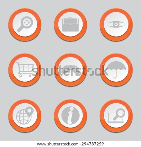 SEO Internet Sign Orange Vector Button Icon Design Set 10
