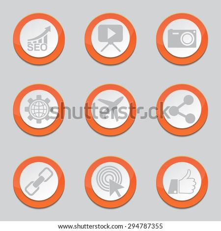 SEO Internet Sign Orange Vector Button Icon Design Set 1