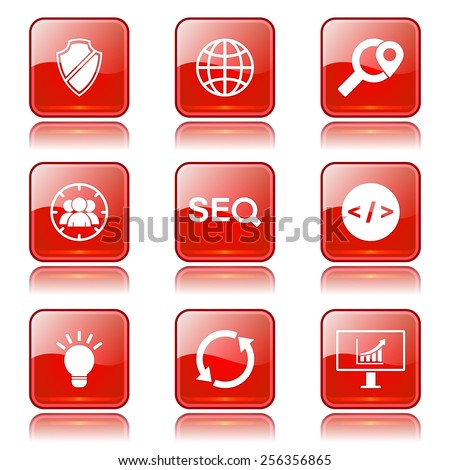 SEO Internet Sign Square Vector Red Icon Design Set 2 - stock vector