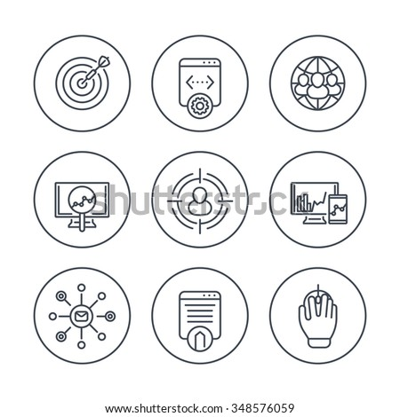 seo line icons in circles, search engine optimization, internet marketing, web page indexing, vector illustration - stock vector
