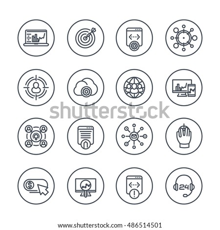 seo line icons in circles, search engine optimization, website analysis, indexing, ranking, internet marketing, seo tools