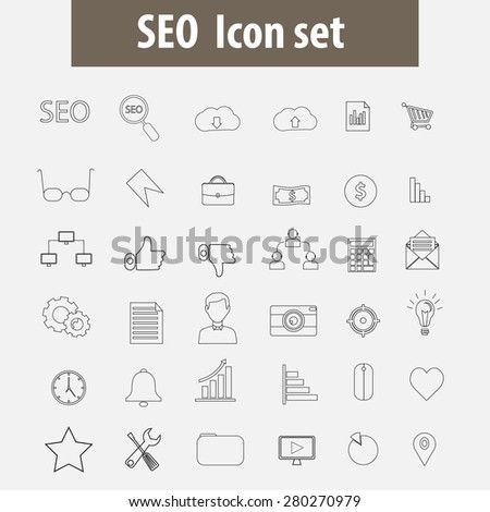 Seo line icons vector.