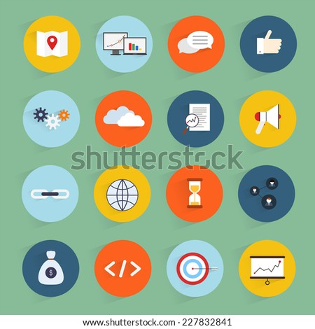 SEO marketing flat icons set with community profit clean code isolated vector illustration - stock vector