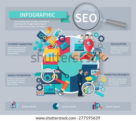 Seo marketing infographics set with internet search website search optimization symbols and charts vector illustration - stock vector