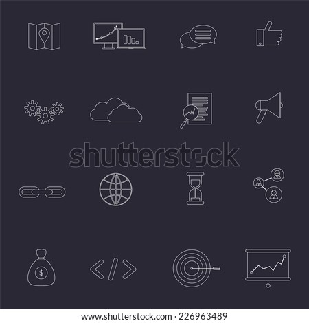 SEO marketing outline icons set with choice optimization social network cloud isolated vector illustration - stock vector