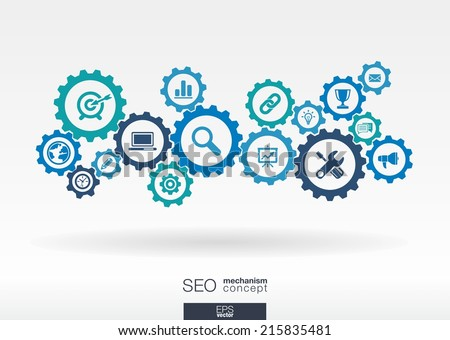 SEO mechanism concept. Abstract background with integrated gears and icons for digital, internet, network, connect, analytics, social media and global concepts. Vector infographic illustration.  - stock vector