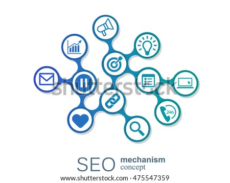 SEO mechanism concept. Abstract background with integrated gears and icons for strategy, digital, internet, network, connect, analytics, social media and global concepts.