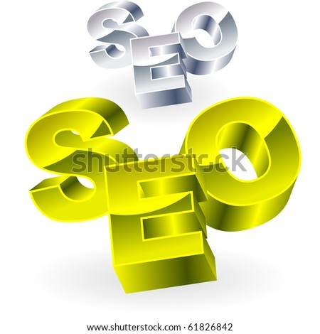 SEO. Metal 3d illustration. - stock vector