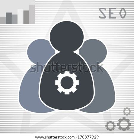 SEO modern design label with diagram and teamwork people concept art - stock vector
