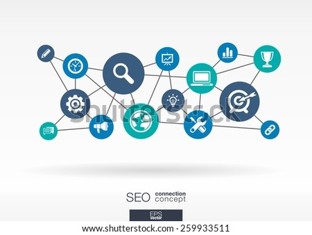 SEO network. Growth abstract background with lines, circles, integrate flat icons. Connected symbols for digital, connect, analytics, social media and market concepts. Vector interactive illustration. - stock vector