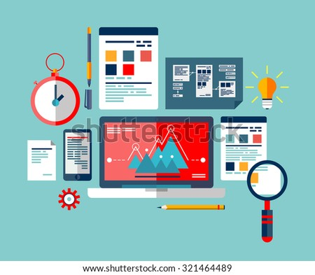 SEO optimization icons set, programming process and web analytics elements. The process of creating and implementing ideas. - stock vector