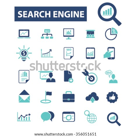 seo optimization  icons, signs vector concept set for infographics, mobile, website, application  - stock vector