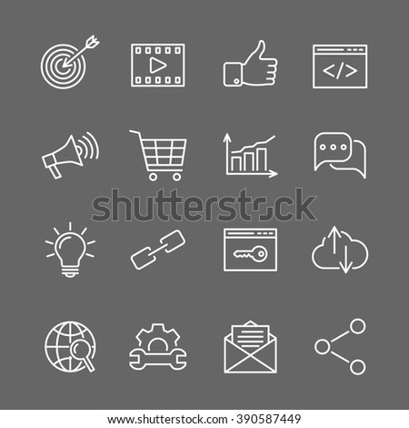 SEO optimization line icons. Web development, internet marketing, web design, analysis - stock vector