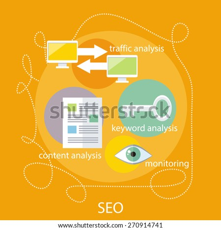 SEO optimization, programming process and web analytics elements in flat design. For marketing and promotional materials, presentation templates. Monitoring, traffic, keyword and content analysis - stock vector
