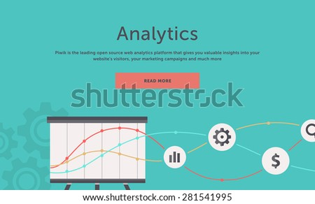SEO optimization, programming process and web analytics elements in flat design. For web site construction, mobile applications, banners, corporate brochures, book covers, layouts etc - stock vector
