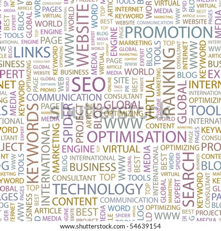 SEO. Seamless vector background. Wordcloud illustration. - stock vector