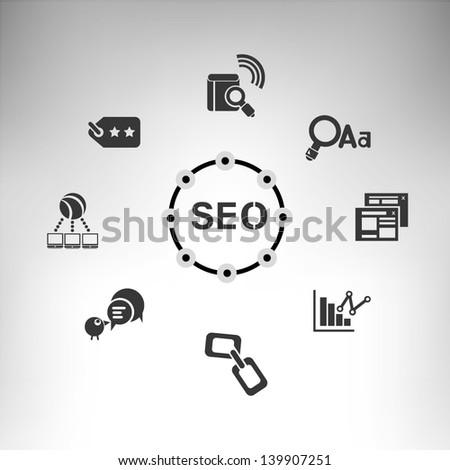 seo, search engine optimization - stock vector