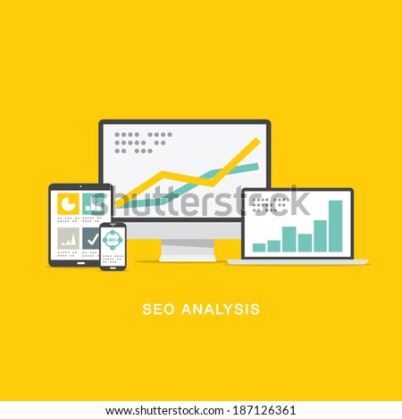 SEO search engine optimization analysis in flat computer icons - stock vector