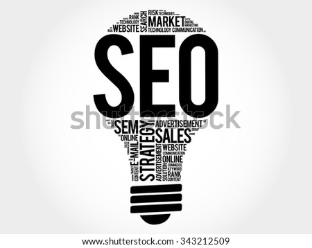 SEO (search engine optimization) bulb word cloud, business concept - stock vector
