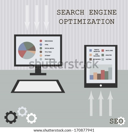 SEO search engine optimization retro style art with gadgets and gears modern diagram and chart element include illustration - stock vector