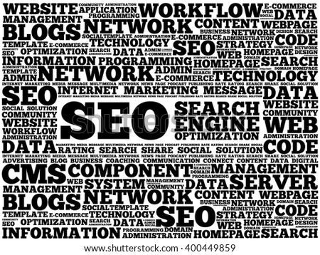 SEO (search engine optimization) word cloud business concept - stock vector