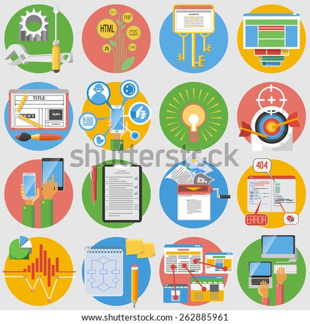 Seo search results optimization service and website content editing flat round  pictograms collection abstract isolated vector illustration - stock vector