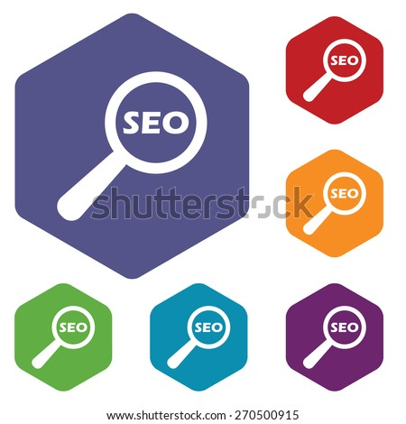 Seo search rhombus icons set in different colors. Vector Illustration - stock vector