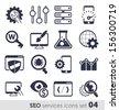 SEO services icons set 04 MONO - stock vector