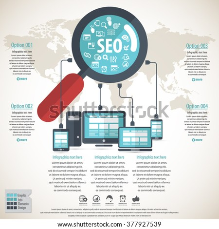 SEO services infographics concept with 20 premium quality SEO icons set. - stock vector