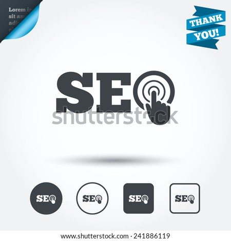 SEO sign icon. Search Engine Optimization symbol. Circle and square buttons. Flat design set. Thank you ribbon. Vector - stock vector