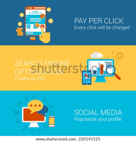 SEO SMM online advertisement concept flat icons set pay per click interface search engine optimization social media marketing vector web illustration website click infographics elements collection - stock vector