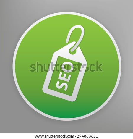 SEO tag design icon on green button, clean vector - stock vector