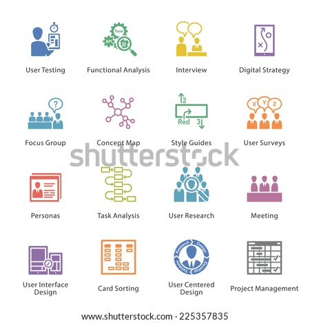 SEO & Usability Icons Set 1 - Colore? Series - stock vector
